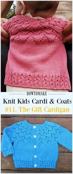 Baby Knitting Patterns Sweter The Gift Cardigan Free Knitting Pattern - Kids Sweater Free Patt. Baby Sweater Patterns, Baby Sweater Knitting Pattern, Crochet Baby Cardigan, Knit Baby Sweaters, Toddler Cardigan, Booties Crochet, Crochet Hats, Knitting For Kids, Free Knitting