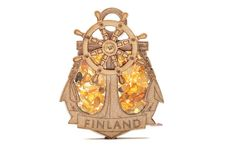 FRIDGE MAGNET FILLED WITH NATURAL BALTIC AMBER (FINLAND) #amber #bernstein #gift #magnet #finland #souvenir #baltic #wooden #share Bernstein, Baltic Amber, Finland, How To Memorize Things, Clock, Ceiling Lights, Creative, Gifts, Design