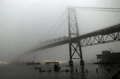 Ponte Hercílio Luz - encoberta num dia de nevoeiro  Florianópolis - SC  Foto: Guto Keurten  Agencia: RBS