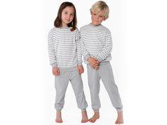 Zweiteiliger Kinder Schlafanzug grau-weiß