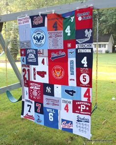 Baseball Memory Quilt out of my boys jerseys. Love it!!