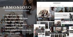 Armonioso - Personal & Magazine WordPress Responsive Blog Theme Armonioso is one of the most Modern, Clean and Creative WordPress blog themes on Themeforest. A creative and unique style with fantastic slider, numerous post formats and excellent promo blocks will attract new visitors and you will breathe new life into your blog. Just give your blog a little Armonioso. Let's make your blog the source of inspiration.