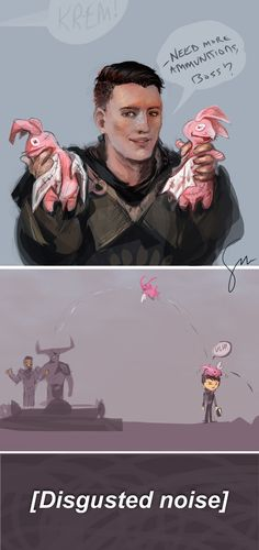 humblenug:   Iron Bull: Cullen's got some of those trebuchets from the siege back at Skyhold. Hey, Seeker, think he'd mind if I borrow one? Just for an hour or two.  Cassandra: Why do you need a trebuchet?  Iron Bull: Krem sews a bit; he made these stuffed nugs with wings. I wanna see how far they can fly…  Cassandra: I… don't think that's an appropriate use of the Inquisition's resources.  Iron Bull: See? This is why you're not in charge of morale.