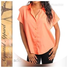 Orange Open Back Blouse Super cute. Orange with cream orange accents. Open back perfect for day to night transformation. Small medium and large available. Acquitted Apparel Tops Blouses