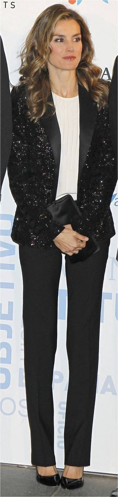 Queen Letizia of Spain. Black sequin blazer.