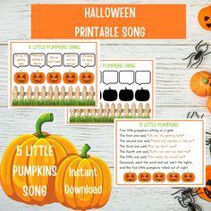 5 Little Pumpkins Song, Halloween Songs, Toddler Preschool Activities, Nursery Rhymes, Busy Book Page, Halloween Printable, Instant Download