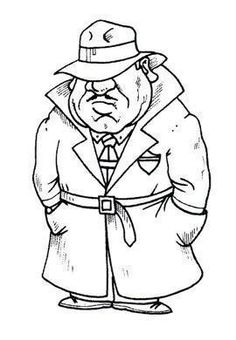 Man in trench coat Pattern Coloring Pages, Colouring Pages, Pictures To Draw, Cute Pictures, Character Drawing, Character Design, Digital Stamps Free, Caricature Drawing, Cartoon Man