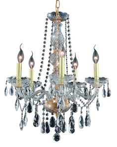 Verona 5 Light Crystal (Clear) Chandelier in Gold Finish 7955D21G/SS