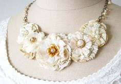 Bridal Statement Necklace - Ivory, Cream and Gold and Pearl Accents