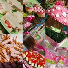 Fairy party at the enchanted forest!  Love the mushroom cake with a rice krispie base, the tomato and mozz toadstools, and the strawberry sandwiches!