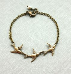 Three Tiny Brass Flying Swallow Bird Pearl Bracelet by Marolsha