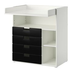 IKEA - STUVA, Changing table with 4 drawers, white/black, , This changing table grows with your child, lower the top to the desired height to transform it into a desk or play surface.Practical storage space within close reach. You can always keep a hand on your baby.You can customize the space to suit your needs by adjusting the small shelves to the desired height.