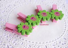 mini pince à linge fleur, épingle en bois, vert pistache rose x4, porte photo : Décoration pour enfants par cocoflower-workshop