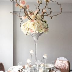 Beautiful pastel flowers in a 70cm Martini Vase by Add Style UK
