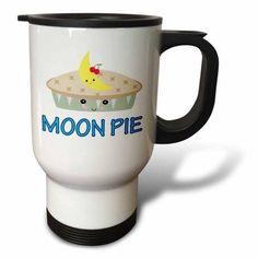 3dRose Cute Kawaii Cute Moon Pie, Travel Mug, 14oz, Stainless Steel