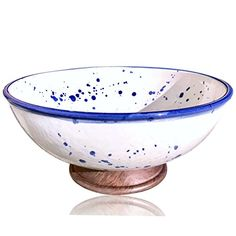 Kauri Design 11 in. White Porcelain Bowl with Splatter Pottery and Wooden Finish, White And Blue Japanese Porcelain, Cold Porcelain, Porcelain Tile, White Porcelain, Formal Dining Tables, Kitchen Tray, Handmade Kitchens, Safe Food, Decorative Accessories