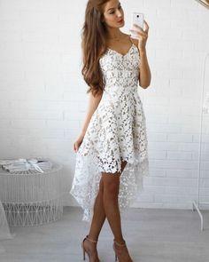 Spaghetti Straps Lace High Low Lace Formal Dress Sexy Lace Dress, Boho Dress, Sexy Dresses, Cute Dresses, Beautiful Dresses, Casual Dresses, Fashion Dresses, White Dress, White Lace