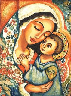 Religious Painting, Mary and Jesus, Virgin Mary, Folk Art Icon, Mothers Love, Christian Art, Mother and Child, Wall Decor - Art Print.