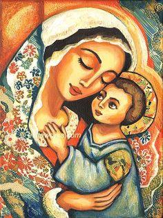 Pintura religiosa, María y Jesús, Virgen María, Folk Icon Art, amor de madres, arte cristiano, la Madre y el Niño, decoración de la pared - Lámina.