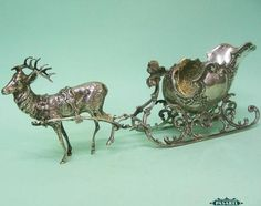 Continental Silver Miniature Sleigh Harnessed To Reindeer Figurine 1930s
