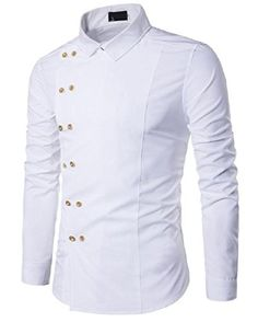 1956321d071 Zimaes-Men Solid Plus Size Slim Fit Double-Breasted Western Shirt White  Small Shirt