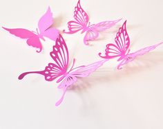 14 Paper Butterfly Wall Decals, Butterfly Stickers for Girl Room, Butterfly Decoration, Butterfly Party Supplies by ArtPaperWonders on Etsy