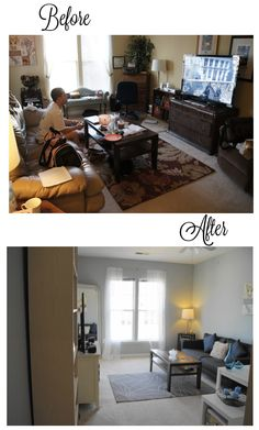 Small apartment makeover- before and after. Nice, but is the guy still allowed to play video games and leave the living room a MESS? ick!
