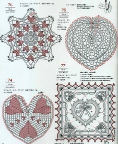 Сердечки крючком - схемы lace