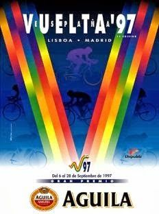 1997 Vuelta a Espana Poster. Producing a very colourful Olympic style medal ribbon feel to the main image. The cyclist are featured in silhouette and a transparent format. Medal Ribbon, Bike Poster, Cycling Art, Bike Art, Grand Tour, Tours, Graphic Design, Posters, Silhouette