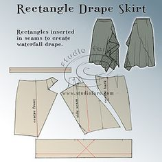 Use my skirt block to make this drape skirt pattern.For this post you have an elegant Drape Skirt that can be cut from a basic skirt block or any pencil skirt pattern. I've included some interesting seaming that works well with the drapAre you looki Drape Skirt Pattern, Pattern Draping, Skirt Pattern Free, Free Pattern, Dress Making Patterns, Easy Sewing Patterns, Clothing Patterns, Skirt Patterns, Sewing Tips