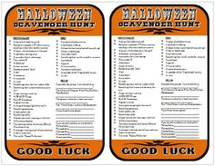 Free Printable Halloween Scavenger Hunt list (and ideas for a party) from @rookno17 #halloween