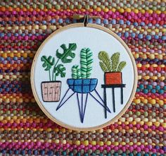 Potted Plants Hand Embroidered Hoop Art Embroidery