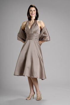 7411f29d3000 Simple A-Line Halter Pleated Upper With Shawl Brown Satin Tea Length Mother  Of The Bride Dresses/Party Dresses/Evening Dresses