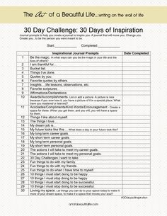 30 Day Challenge Inspirational Journal: 30 Days of Inspiration: Journal Prompts artofabeautifullife.com {newsletter subscription required to download}