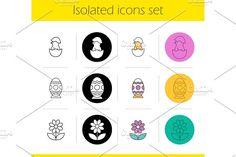 Easter icons set  @creativework247