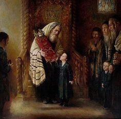 Elena Flerova -Kissing the Torah-Judaica fine art Jewish oil Painting Reproduction