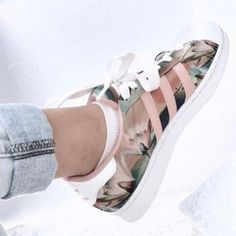 $95 Mix And Match Your Favourite Floral Trends With Sneakers Pink And Green Floral Flower Print Adidas White Platform Sneakers Perfect For A Girly Summer Spring Outfit Wheretoget's Hot List Tumblr