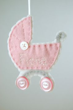 Felt baby buggy ornament