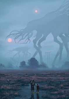 Simon Stålenhag/ Mist Study by Robert Ryminiecki Dark Fantasy Art, Fantasy Artwork, Fantasy Kunst, Fantasy World, Arte Horror, Horror Art, Fantasy Creatures, Mythical Creatures, Lovecraftian Horror