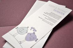 Letterpress Hochzeits Einladungskarte Love Birds - Letterpress Wedding Invitation