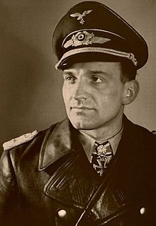 "Hans-Ulrich Rudel  was a dive-bomber pilot in World War II & a member of the Nazi Party. The most highly decorated German of the war. He flew 2,530 combat missions for a total of 2,000 targets destroyed incl. 800 vehicles, 519 tanks, 150 artillery pieces, a destroyer, 2 cruisers, 1 Soviet battleship, 70 landing craft, 4 armored trains, several bridges and nine aircraft. He did this with 1 leg. After the war he worked on the US A-10 ""Warthog"", the most successful ground attack jet in history."