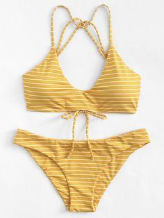 striped strappy bikini set. #borntowear #fashion #tops #swimwear