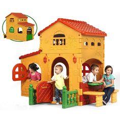 ¡Una casita con puerta con buzón de cartas y ventanas abatibles! ¡Como una casa real!