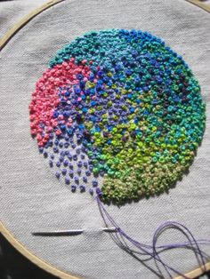 French Knots and then she crocheted a stand up edge around this . it looks like a big flower. good way to use up lots of various coloured scraps of embroidery floss with the Knots. French Knot Embroidery, Ribbon Embroidery, Embroidery Art, Cross Stitch Embroidery, Embroidery Patterns, Creative Embroidery, Bordados E Cia, French Knots, French Cuff