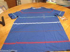 Men's Quiksilver stripe blue t shirt trembly XL MM024 108252 surf skate NEW $38