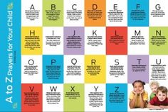 A to Z Scripture prayer chart - this is for parents to use as they pray for their children