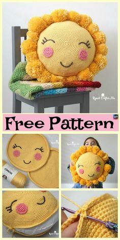 Crocheted Sunshine Pillow – Free Pattern #freecrochetpatterns #pillow