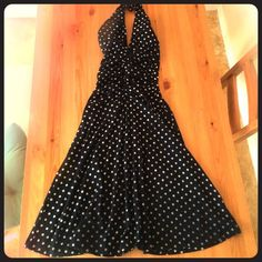 FOREVER 21 POLKA DOT BLACK SWING MIDI DRESS SIZE S Ambience apparel size small Ruched v-neck halter dress with black and white polkadots. Mid length. Like new. Ambiance Apparel Dresses Midi