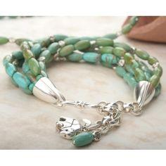 6 Strand Turquoise & Silver Bracelet