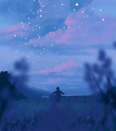 Wallpaper Animes, Anime Scenery Wallpaper, Animes Wallpapers, Cute Wallpapers, Sky Aesthetic, Aesthetic Anime, Beau Gif, Arte 8 Bits, Foto Fantasy